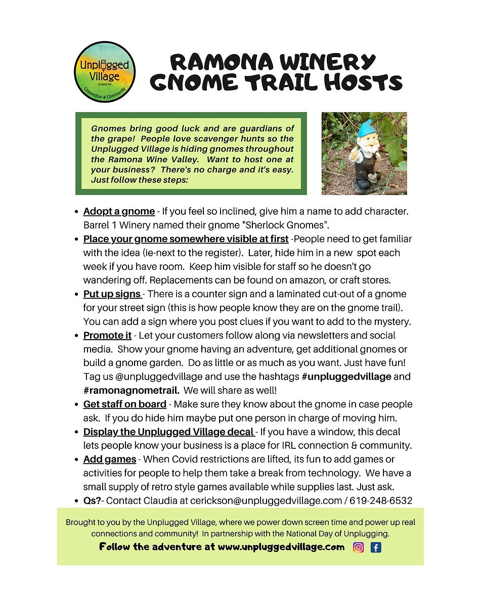 Host  Instructions Gnome Trail 10-28-20.
