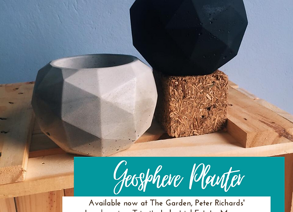 Geosphere Concrete Planters (shown in Natural & Black) by so.hippie