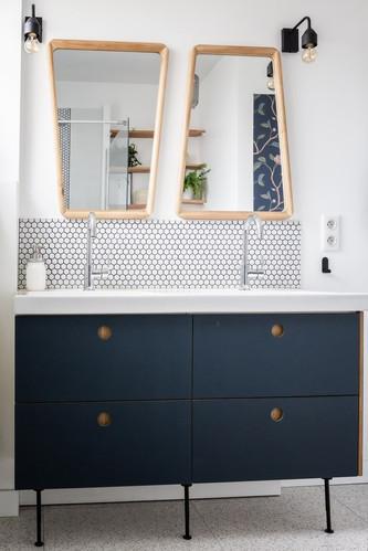 Meuble vasque bleu salle de bain Nogent-sur-Marne