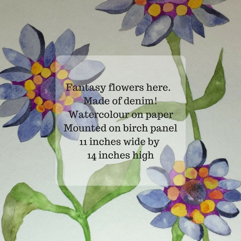 Fantasy flowers here. Made of denim!Watercolour on paperMounted on birch panel11 inches wide by 14 i