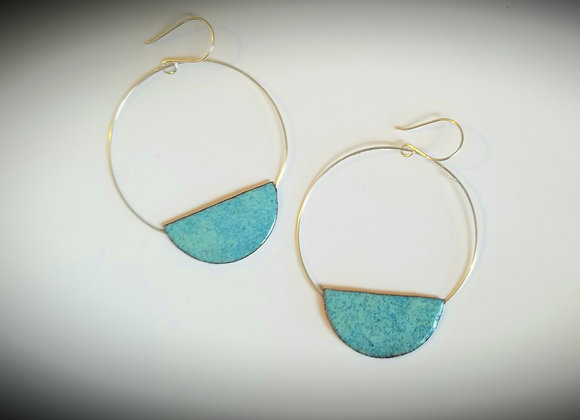 Half Moon sterling & enamel hoops