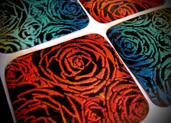 Enameled Copper Flower Petal Coasters