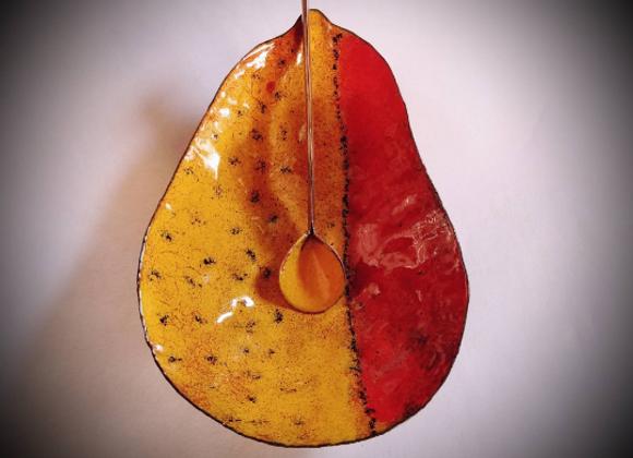 Enameled Pear Bowl w/spoon