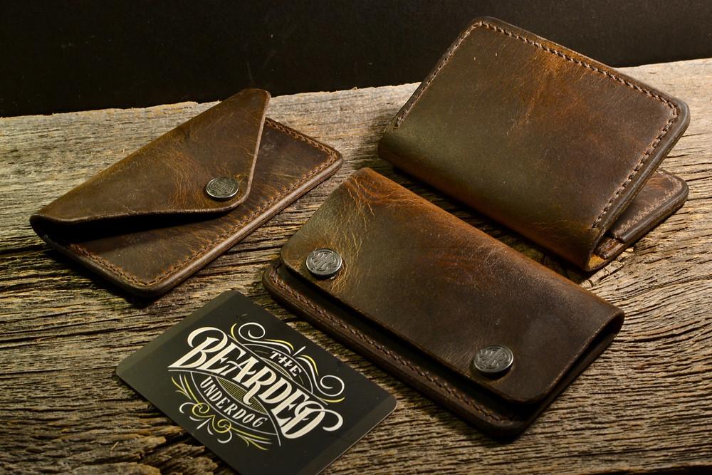 broken oak handmade leather wallet