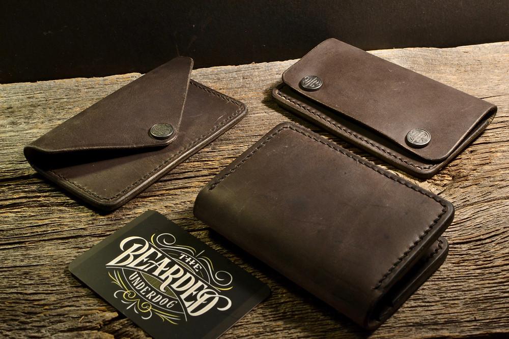 Slate grey handmade leather wallets
