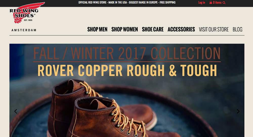 Red Wing Shoes Amsterdam homepage