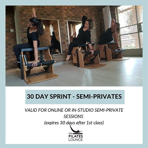 30 day sprint - Semi-Private session