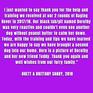 Brett & Brittany Sandy with Dorothy, 2018