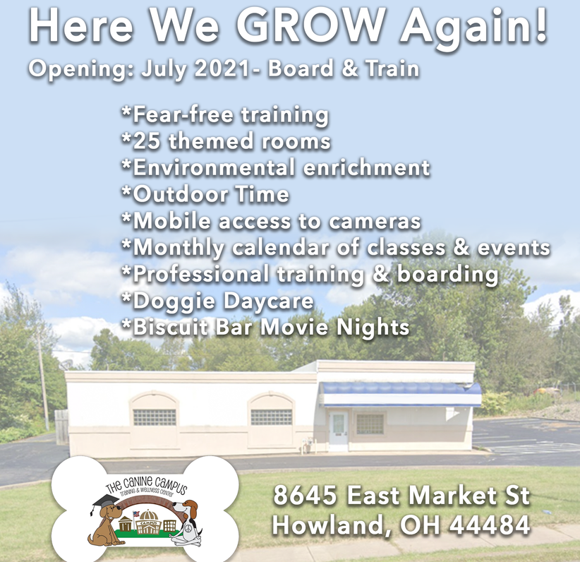 New! Our Howland, Ohio center for The Canine Campus. Daycare, Board and Train plus classes!