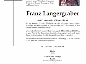 Kamerad Franz Langergraber, Mitglied der Bergrettung Steyr-Losenstein von 1967-2018, ist am Montag u