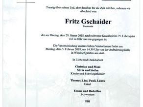 Kamerad Fritz Gschaider nach schwerer Krankheit verstorben.