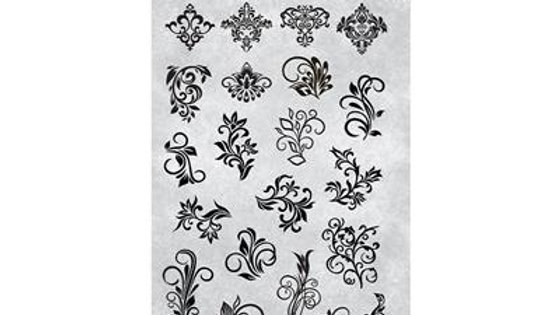 STAMPING PLATE 32 ORNAMENTS Item No. 118635