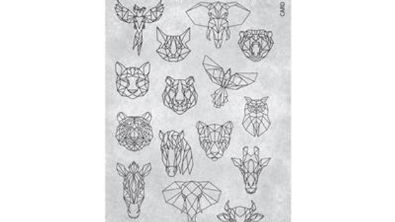 STAMPING PLATE 20 GEOMETRIC ANIMALS Item No. 118623