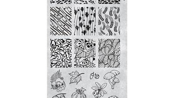 STAMPING PLATE 40 LOTS OF LEAVES Item No. 118643