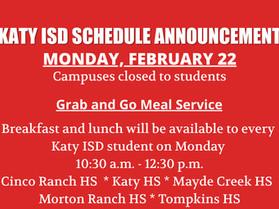 Katy ISD Remains Closed to Students Monday, February 22