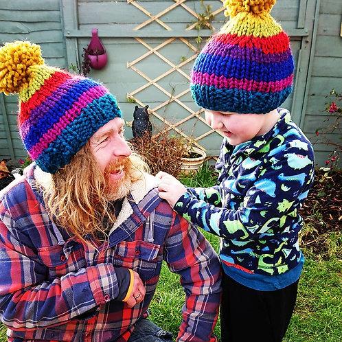 chunky rainbow bobble hat (adult)