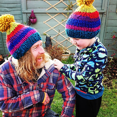 kids chunky rainbow bobble hat