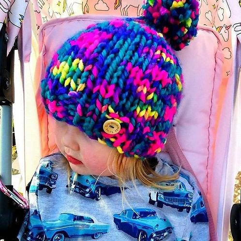 childrens flourescent bobble hat