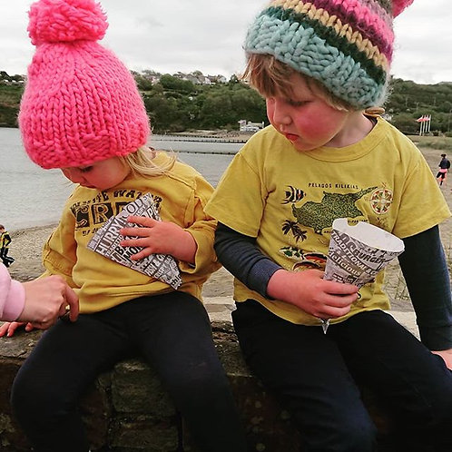 childrens pure wool bobble hats