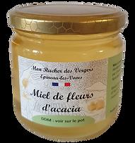 Le miel d' acacia est un miel doux et floral qui a un fort pouvoir sucrant. C'est un des miels les plus clairs et qui restera longtemps liquide.  C'est le miel par excellence de la ruche, son goût est fin et délicieusement doux.  Il est considéré comme un régulateur intestinal.  A la petite cuillère pour les gourmands, il peut être utilisé pour sucrer ou cuisiner.  Conditionné en pot en verre et en pot végétal, compostable pour les miels expédiés.