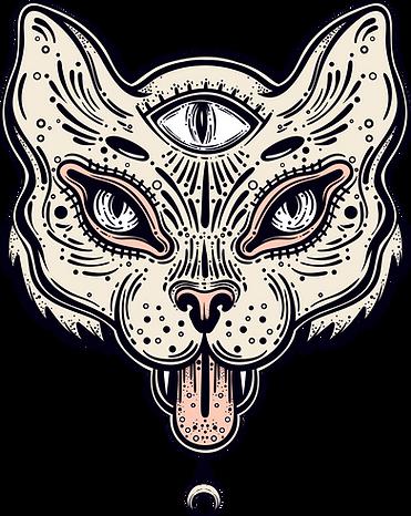 Dessin ésotérique représentant un dispositif technologique prédictif sous forme d'un chat à trois yeux.