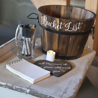 Have your guests give you fun advice or date ideas instead of just signing a book!