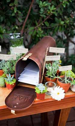 Vintage mailboxes are such a cute way to collect cards! We have an adorable vintage mailbox that you can rent!