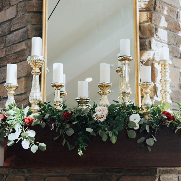 Want to keep things easy for you? Rent our mercury gold candle sticks, battery opperated pillar candles and then add some flowers and maybe even a cute mirror! SO pretty!