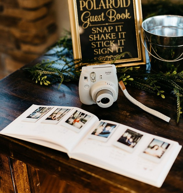 Spice up your guest book and have your guests shoot a fun polaroid of themselves to put in your guest book!