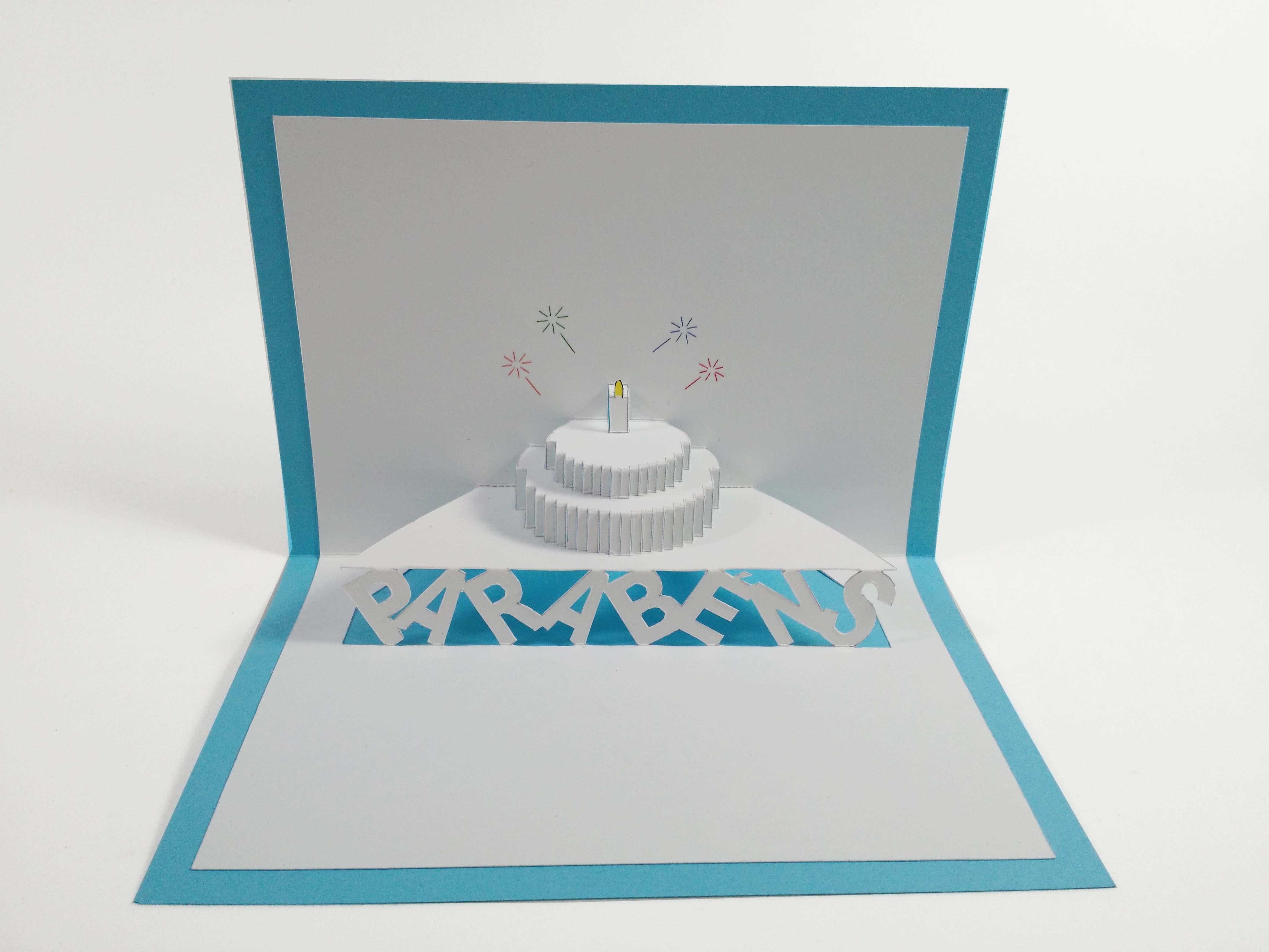 Cartão Kirigami -  Parabéns