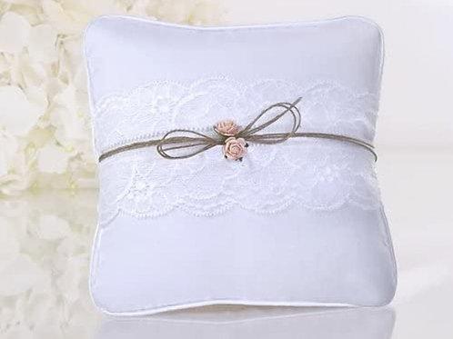 Cuscino Porta Fedi con Rose color cipria