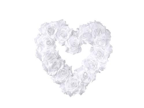 Cuore fiore vuoto, bianco, 40 cm