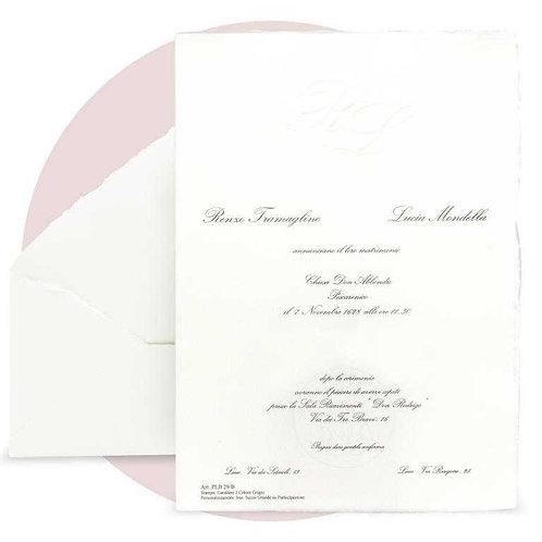 Partecipazione in carta pregiata amalfitana bianca