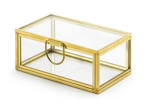 Scatola di vetro, oro, 9x5,5x4 cm