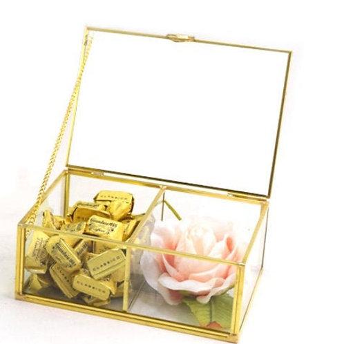 Scatola Vetro e Metallo Oro a Specchio