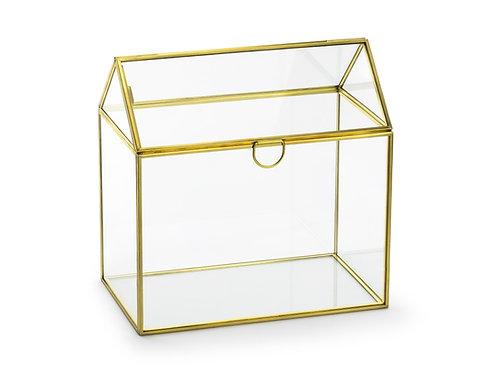 Scatola a busta di vetro, oro, 13x21x21cm