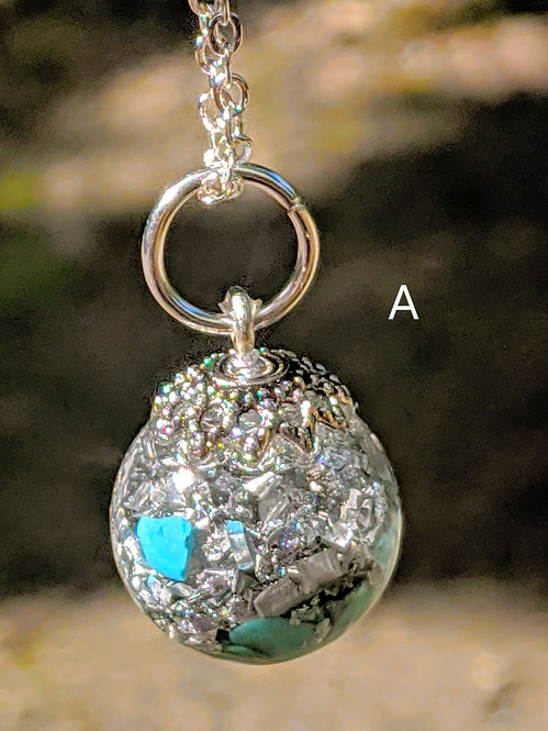 NEW! Calming 'Turquoise Howlite + Silver' Orgonite Bauble Pendant