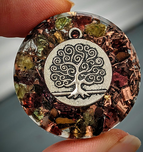 NEW PRODUCT!  Handmade Tree of Life Orgonite Pocket Protection Puck!