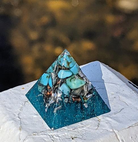 NEW!! 'Howlite Turquoise + Silver' Orgonite' Mini Pocket Protection Pyramid!