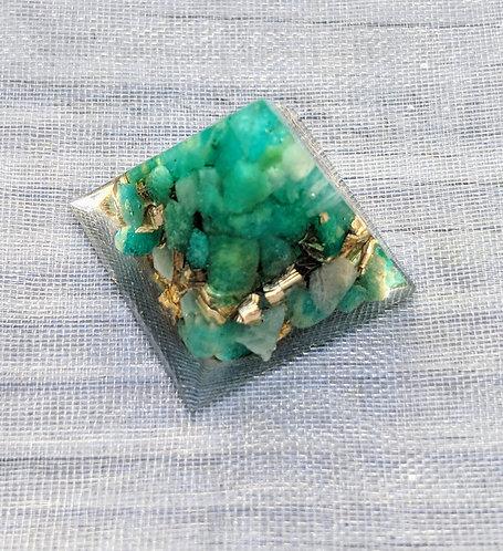 'Green Amazonite & Gold Orgonite' Mini Protection Pyramid Pendant!