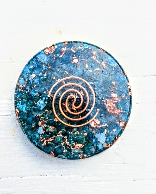 NEW PRODUCT! Mini Orgonite Blue Apatite Charging Plate/Cell Phone Sticker