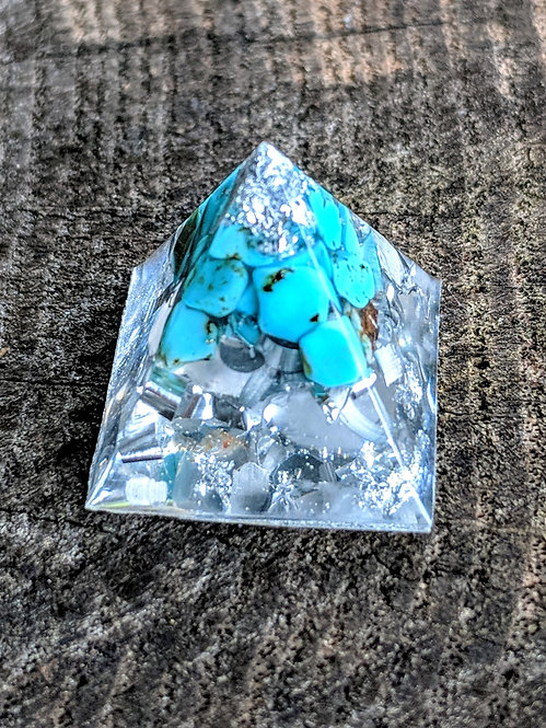 NEW!! 'Howlite Turquoise + Silver' Orgonite' Mini Pocket Protection Pyramid!