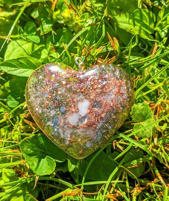 NEW! Divine Love Orgonite Crystal Heart Pendant