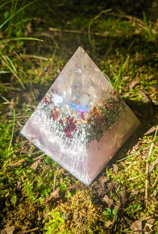 """NEW!  Tall Divine Love Crystal Orgonite Pointy Pyramid (2.5"""" tall)"""