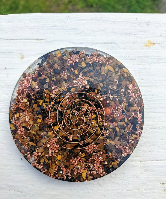 NEW! Handmade 'Golden Tiger's Eye + Tiger Lily' Healing Orgonite Charging Plate
