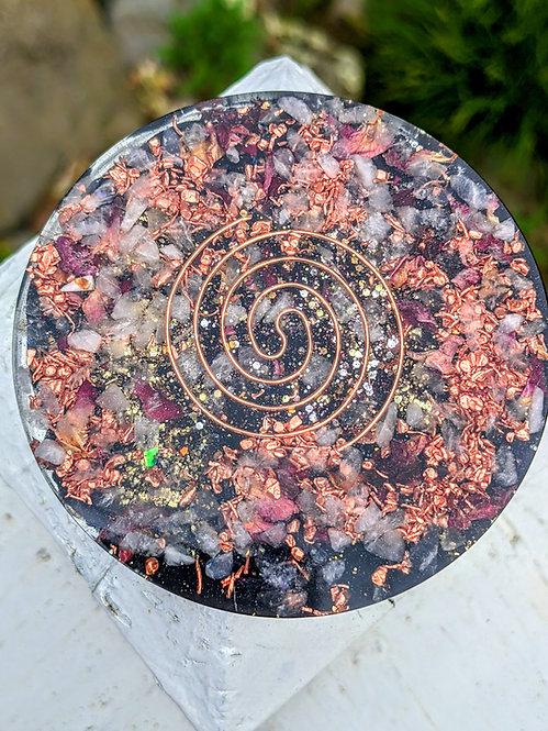 NEW! Handmade 'Pink Rose Quartz + Rose Petals' Healing Orgonite Charging Plate