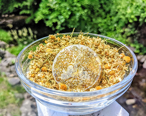 NEW PRODUCT!  Handmade Chamomile Tree of Life Orgonite Protection Puck!