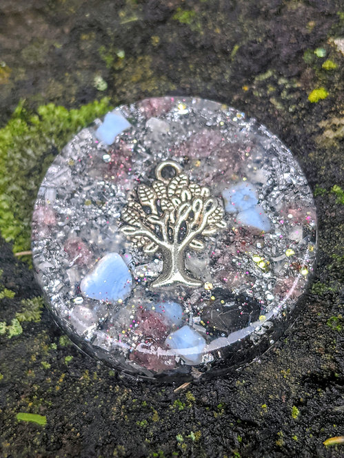 NEW PRODUCT!  Handmade Tree of Life Orgonite Protection Puck (Cell Phone etc)
