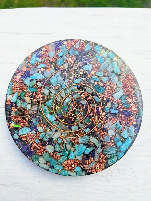 NEW! Handmade 'Blue-Green Amazonite + Statice Petals' Orgonite Charging Plate!
