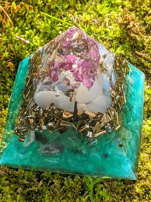 "NEW! Tall 'Healing Waters' Orgonite Pointy Crystal Pyramid (2.5"" Tall)"